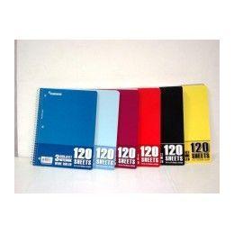 "24 Bulk Wire Notebook - 120 Sh - 10.5"" X 8"" - Wr - 3 Subject"