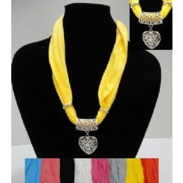 "48 Bulk 30"" Scarf Necklace With Heart"