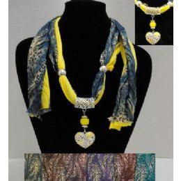"72 Bulk 62"" Leopard Print Scarf Necklace W/ Rhinestone Heart"