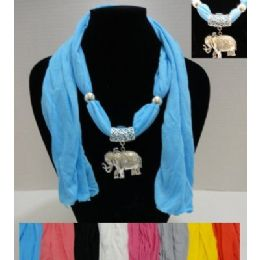"72 Bulk 64"" Scarf Necklace With Elephant"