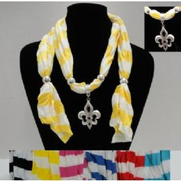 "36 Bulk 64"" Striped Scarf NecklacE-Fleur De Lis"