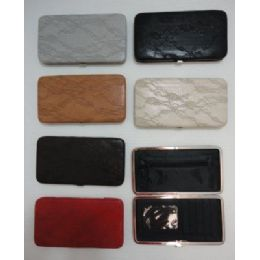 72 Bulk Ladies Flat Wallet With Push Button Clasp [lacy Look]