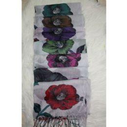 72 Bulk Flower Print Winter Scarf
