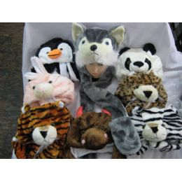 48 Bulk Long Winter Animal Hat With Hand Warmer