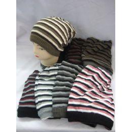 72 Bulk Striped Long Winter Hats
