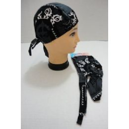 120 Bulk Skull CaP-Black & Dark Gray With White Tribal