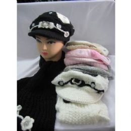 48 Bulk Fashion Winter Hat With Matching Scarf For Ladies
