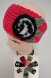 12 Bulk Hand Knitted Ear BanD--Fur Flower