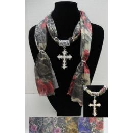 36 Bulk Printed Scarf NecklacE-Cross Charm