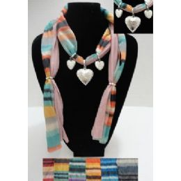 72 Bulk Printed Scarf NecklacE-Triple Heart Charms
