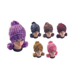 36 Bulk Multicolor Hat With Pom Poms