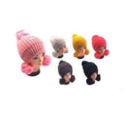 36 Bulk Hat With 3 Pom Poms & Rhinestone