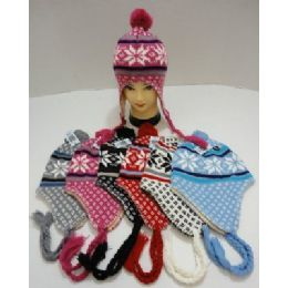 72 Bulk Knit Cap With Ear Flap And PompoM-Snowflakes
