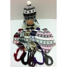 72 Bulk Knit Hat With Ear FlaP--Heart & Peace Sign