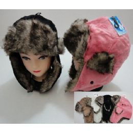 72 Bulk Plush Bomber Hat With Fur Lining