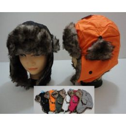 72 Bulk Bomber Hat With Fur LininG--Solid Color