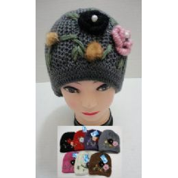 24 Bulk Hand Knitted Fashion CaP--2 Flowers