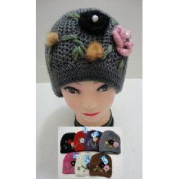24 Bulk Hand Knitted Fashion CaP--2 Flowers