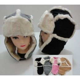144 Bulk Bomber Hat With Fur LininG-TwO-Tone SuedE-Like