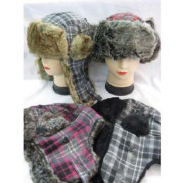 60 Bulk Winter Plaid Pilot Hat With Heavy Faux Fur