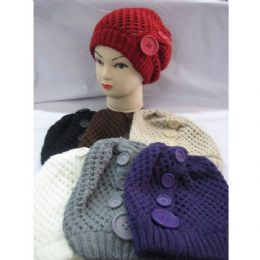 60 Bulk Ladies Hat With Large Buttons