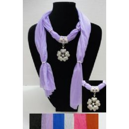"36 Bulk 70"" Scarf NecklacE--Flower/heart Charm"