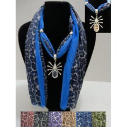 "72 Bulk 70"" Scarf NecklacE--Solid Color/animal PrinT--Spider Charm"