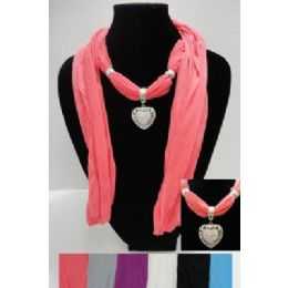 "12 Bulk 70"" Scarf NecklacE-Heart Charm"