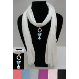 """12 Bulk 72"""" Scarf NecklacE-Butterfly/pearl Charm"""