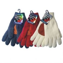 36 Bulk Winter Chenille Glove W/ Leather Palm hd