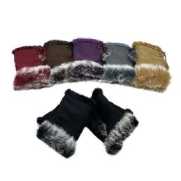 12 Bulk Women's Suede With Fur Fingerless Gloves
