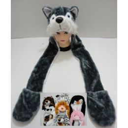 72 Bulk Plush Animal Hats With Hand Warmers
