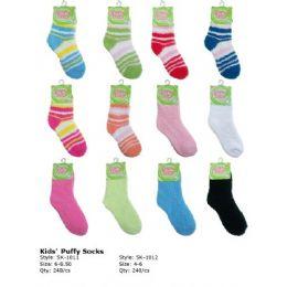 240 Bulk Kids Fuzzy Sock Size 4-6