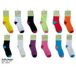 240 Bulk Fuzzy Sock With Color Heal And Toe