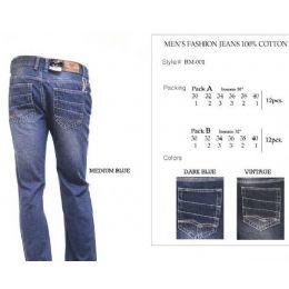 12 Bulk Mens Dark Blue Trendy Jeans