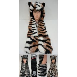 24 Bulk Full Animal Hood Hoodie Hat Faux Fur With Paw Mittens