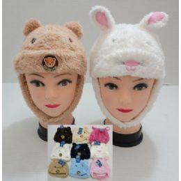 144 Bulk Kids Plush HaT--Bear And Rabbit