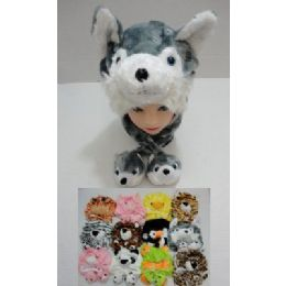 12 Bulk Plush Animal Hat With 2 Babies