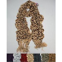 72 Bulk Ruffle Scarf With FringE--Leopard Prints