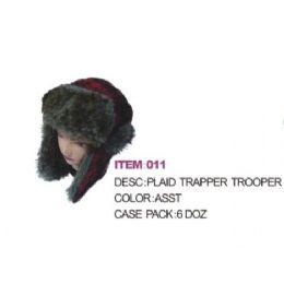 72 Bulk Plaid Aviator Winter Hat With Faux Fur