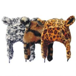 24 Bulk Winter Animal Hat Leopard Print