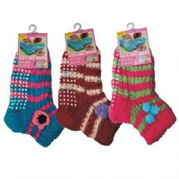 72 Bulk Girls Slipper Socks With Gripper Bottom Size 6-8