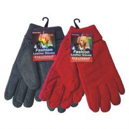 24 Bulk Winter Glove Suede Women