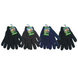 72 Bulk Unisex Winter Knit Glove Solid Black