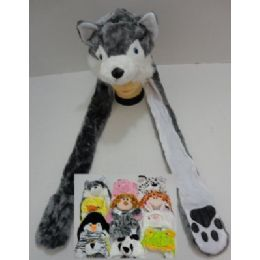 72 Bulk Plush Animal Hats With Hand Warmers (paw Print)