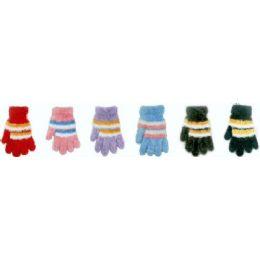 144 Bulk Ladies Feather Yarn Stripe Gloves