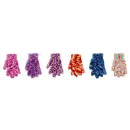 144 Bulk Ladies Feather Yarn Satin Dye Gloves