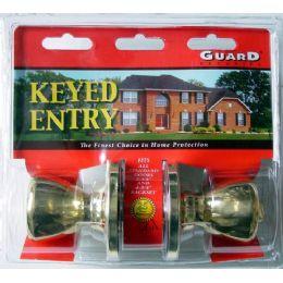 6 Bulk Brass Keyed Entry Doorknob Set