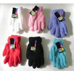 144 Bulk Ladies Stretch Solid Fuzzy Gloves