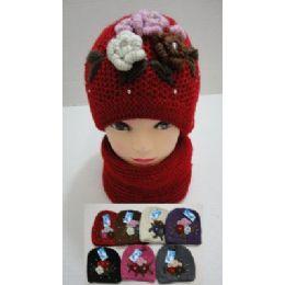 72 Bulk Hand Knitted Fashion Hat & Scarf SeT--5 Flowers And Rhinestones